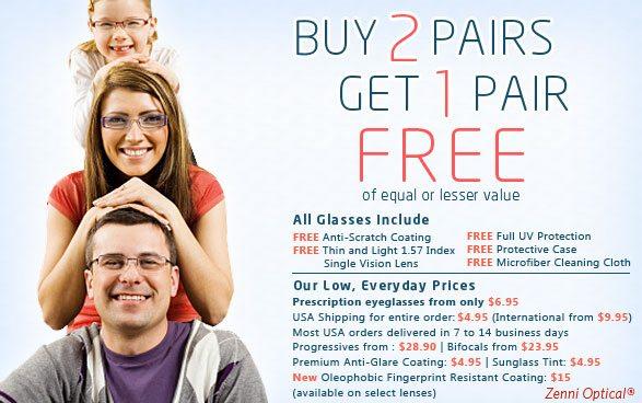 Zenni Optical Buy 2 pairs get the 3rd pair free.