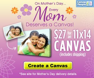 11×14 Photo Canvas For $27 Shipped. Great Mother's Day Gift!