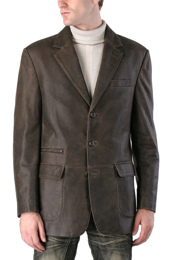 Men's Distressed Cowhide Three-Button Leather Blazer in Distressed Brown