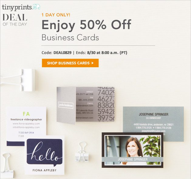 50% Off Business Cards, Mom Cards And Contact Cards!