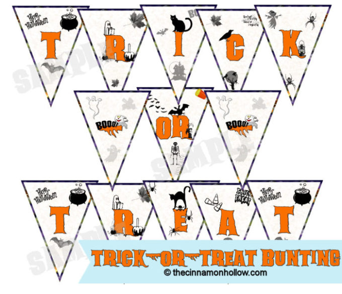Halloween Trick-Or- Treat Bunting Printable