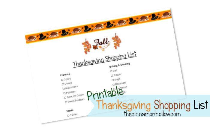 Printable Thanksgiving Shopping List