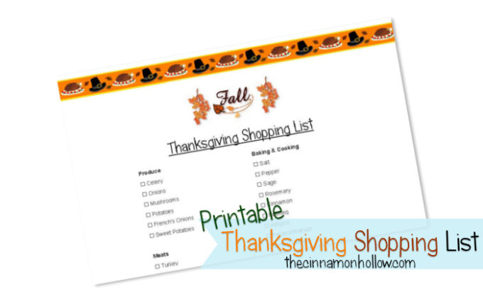 Printable Thanksgiving Shopping List