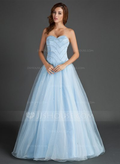 A-Line Princess Sweetheart Floor-Length Organza Satin Prom Dress With Beading