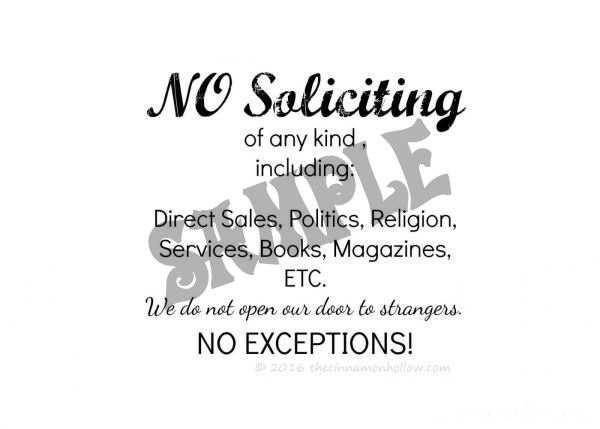 No Soliciting Sign - No Border