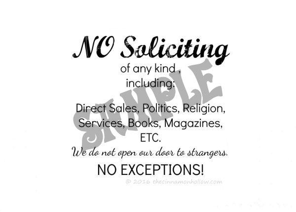 No Soliciting Sign - No Border