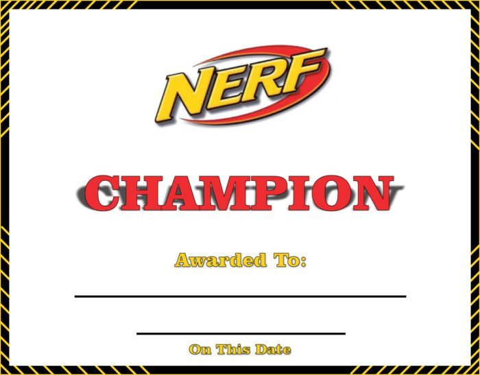 Nerf Champion Certificate
