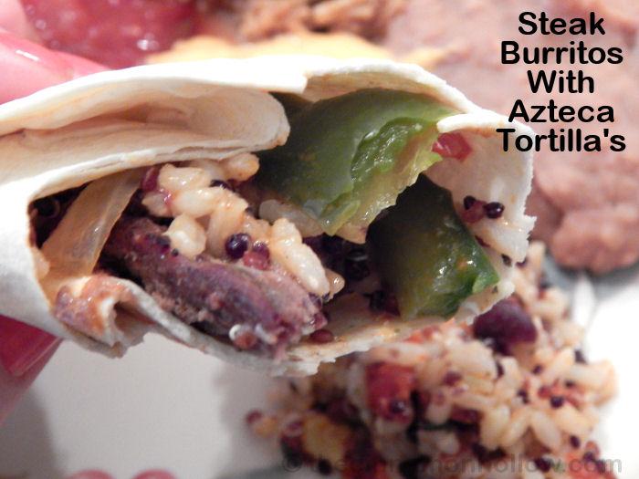 Azteca No Preservative Flour Tortillas Steak Burritos