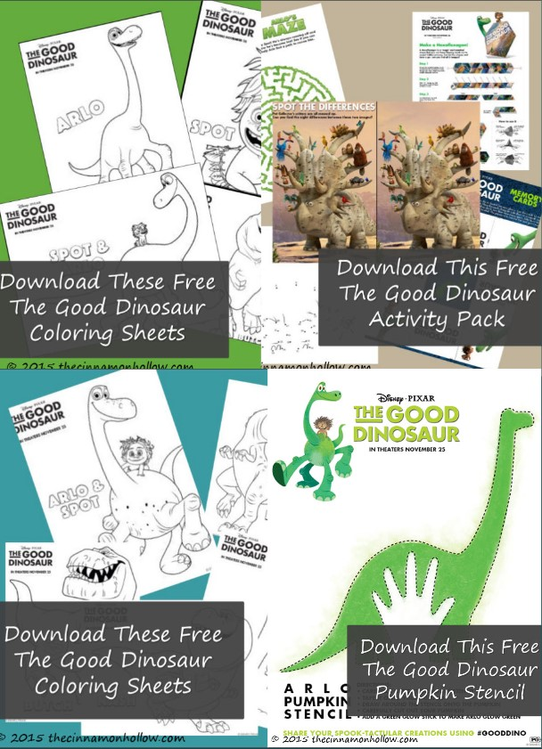 The Good Dinosaur Pumpkin Stencil And Activity Packs!