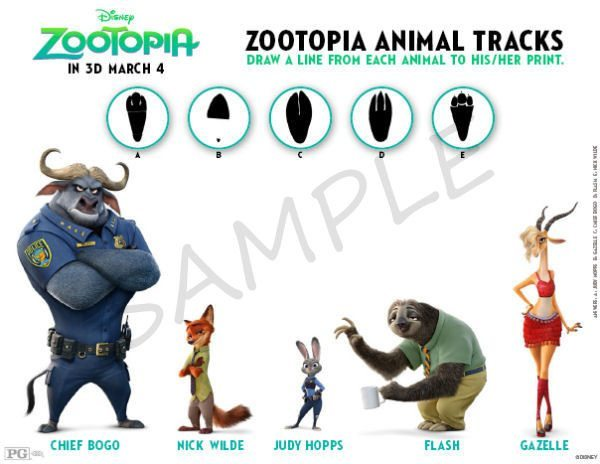 Zootopia Coloring Pages - Zootopia Paw Print Match Game