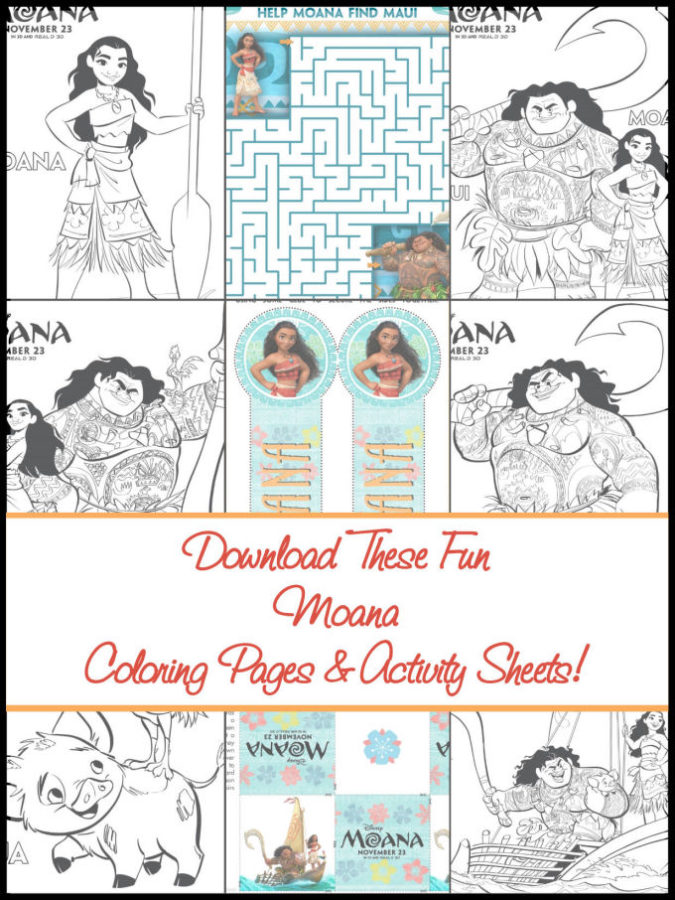 Moana Coloring Pages and Activity Sheets
