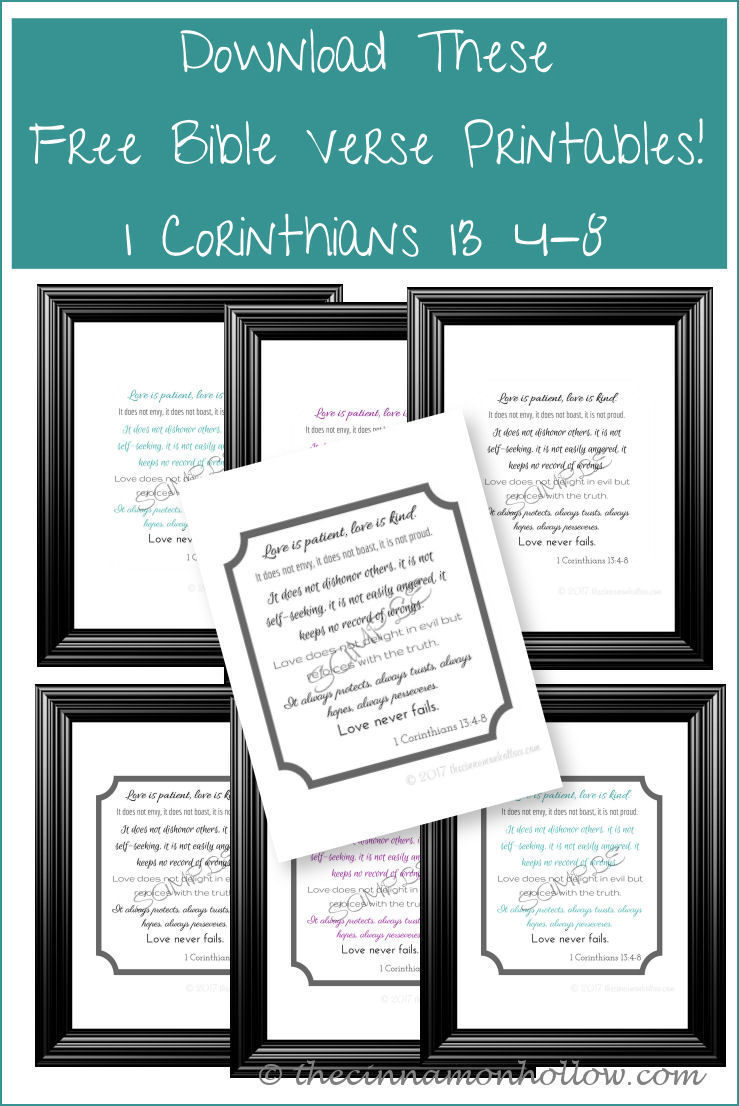 Download These Free Bible Verse Printables 1 Corinthians 13 4-8