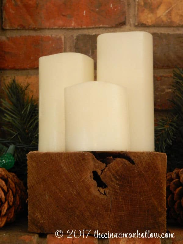 Christmas Decorations Ideas: Battery Candles on a wood block