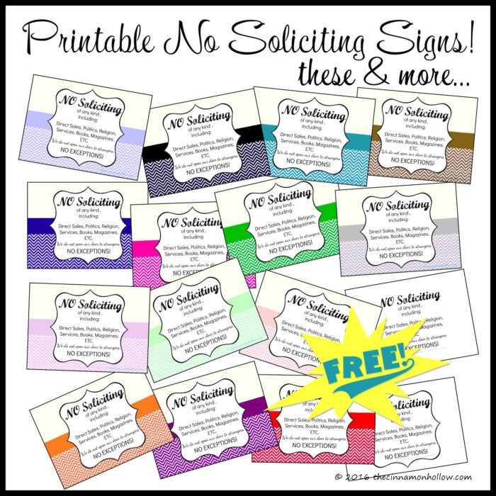 Free Printable No Soliciting Signs