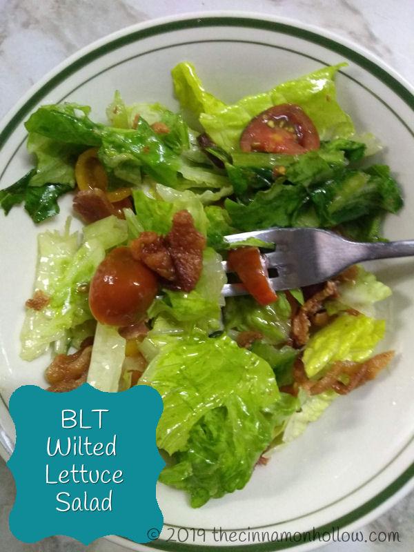 Warm BLT Salad: BLT Wilted Lettuce Salad - THM S - Low Carb