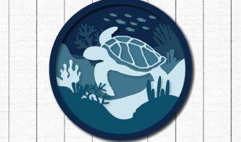 Craft House SVG 3D Layered Sea Turtle SVG